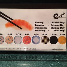 East Japanese Restaurant - West Nyack, NY, United States. Plate pricing chart
