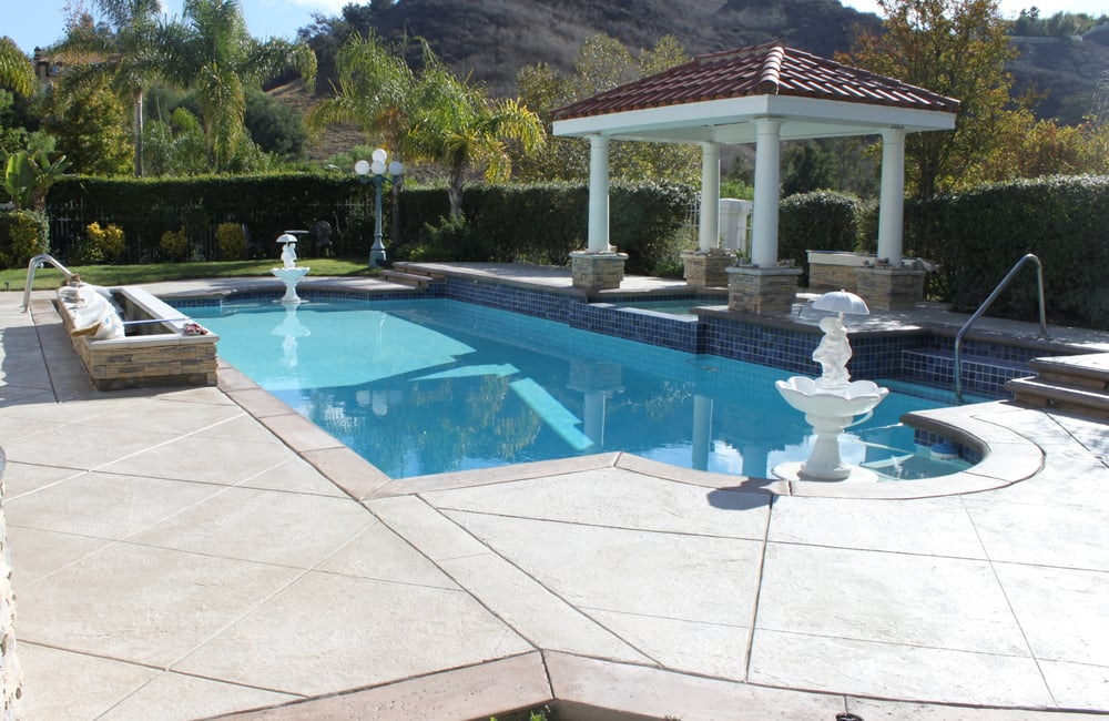 Pool Deck Stamped Concrete Overlay Yelp