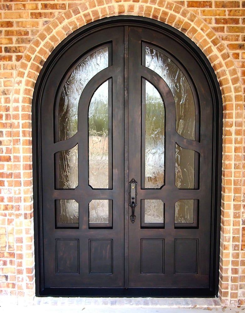 Wrought Iron Door Unit Seedy Baroque Glass Bronze Finish Baldwin