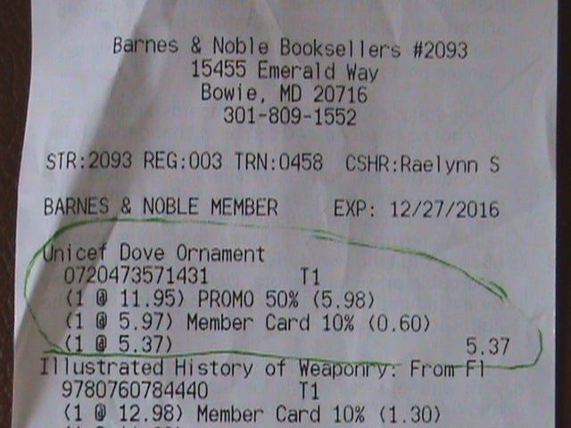 Receipt for ornament on-sale 50% off, while Barnes & Noble charged ...