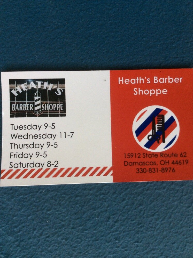 Heath's Barber Shoppe: 15912 State Rte 62, Damascas, OH