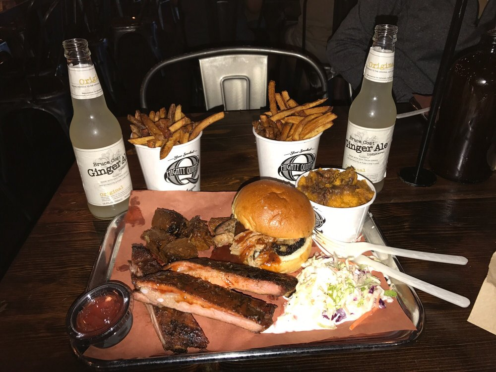 Food from Mighty Quinn's Barbeque