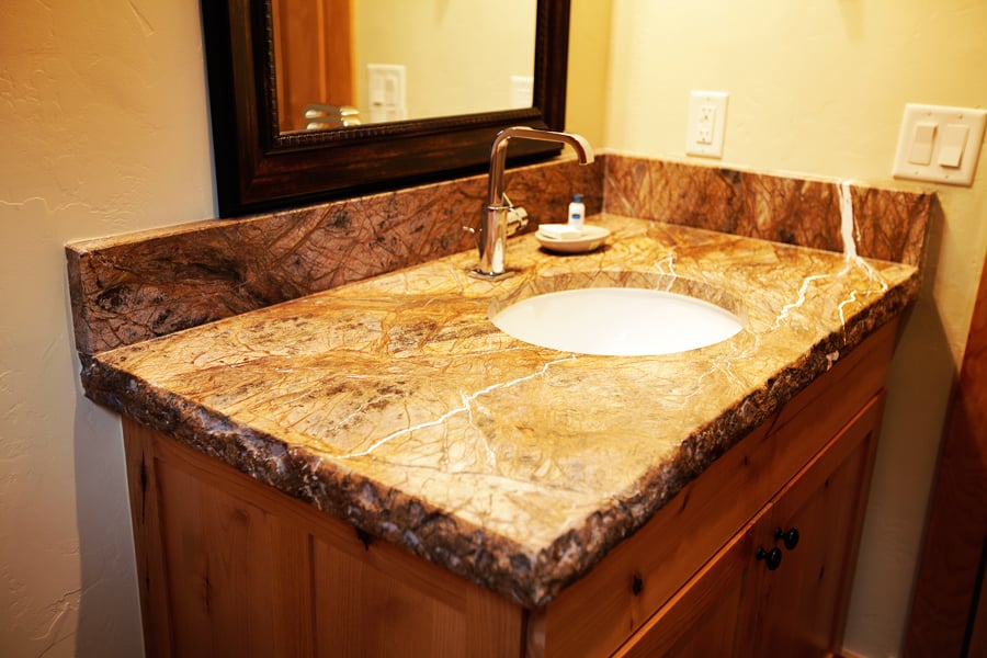 Rainforest granite leathered surface 6cm brocken edge yelp for Granite countertop support requirements