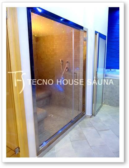 Bagno turco con porta a vetro e vetrata panoramica - Yelp