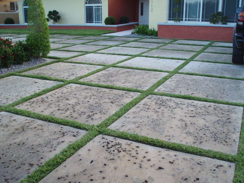 Beautiful rock salt finish custom squares with turf yelp for How to make designs in concrete