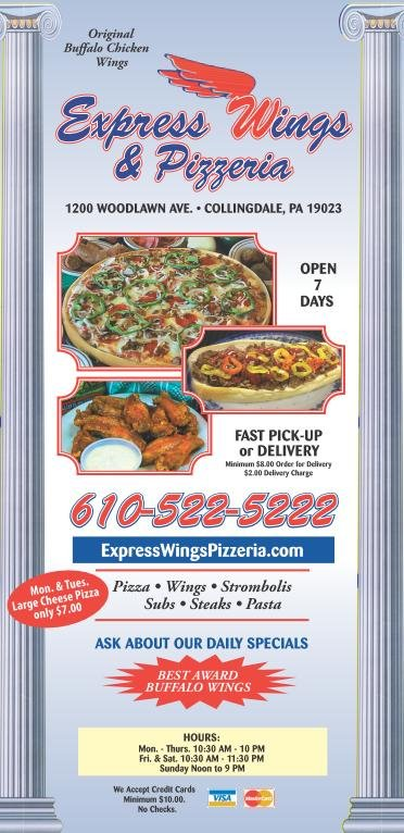 Express Wings & Pizzeria: 1200 Woodlawn Ave, Collingdale, PA