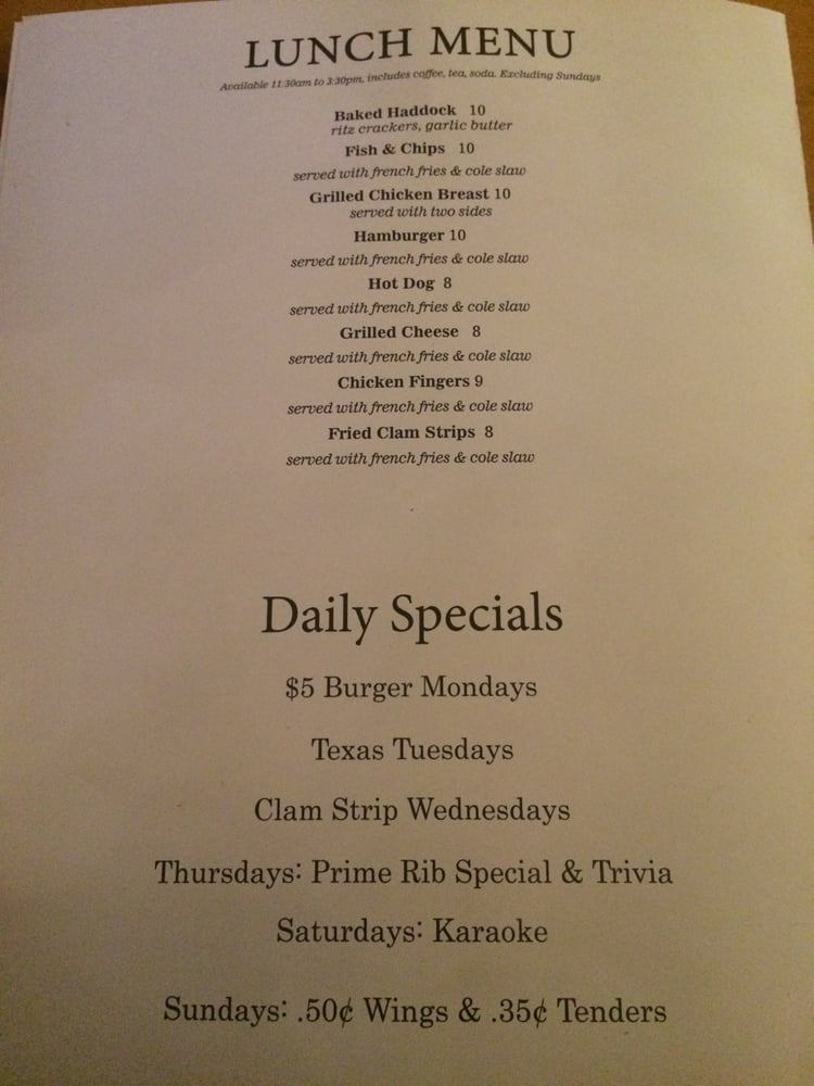 Lunch menu daily specials yelp for Lunch specials