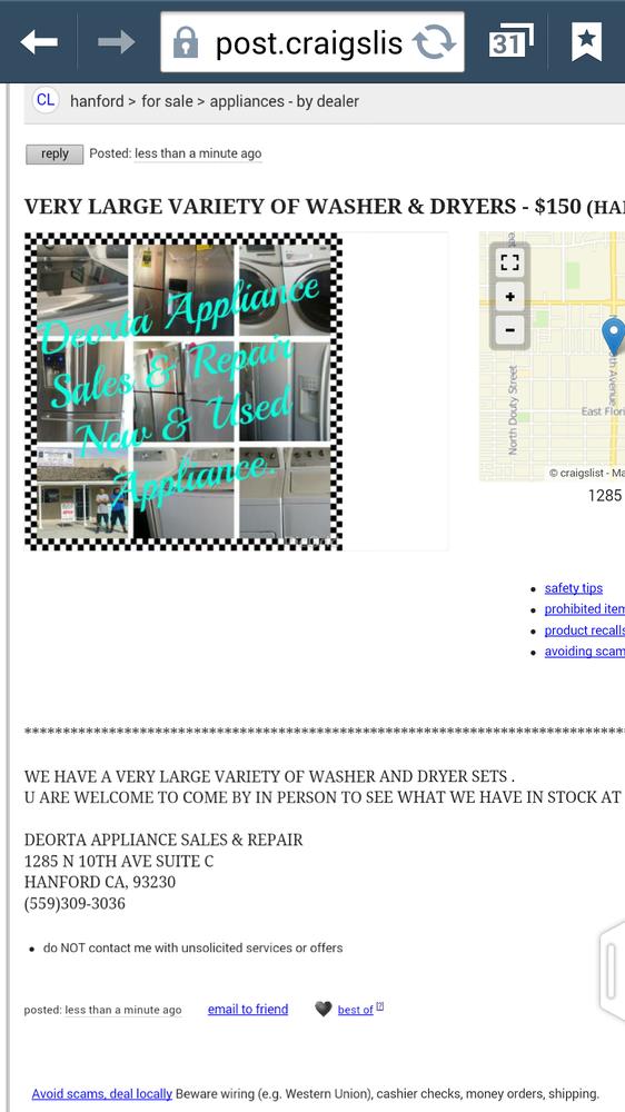 Deorta Appliance - 1285 N 10th Ave, Hanford, CA - 2019 All