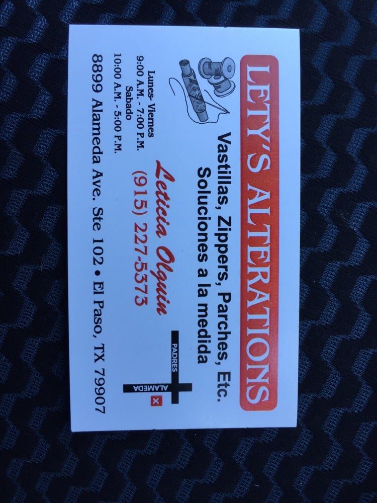 Lety\'s Alterations - Sewing & Alterations - 8899 Alameda Ave, El ...