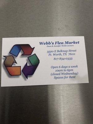 Webb's Flea Market 3520 E Belknap St Fort Worth, TX Flea