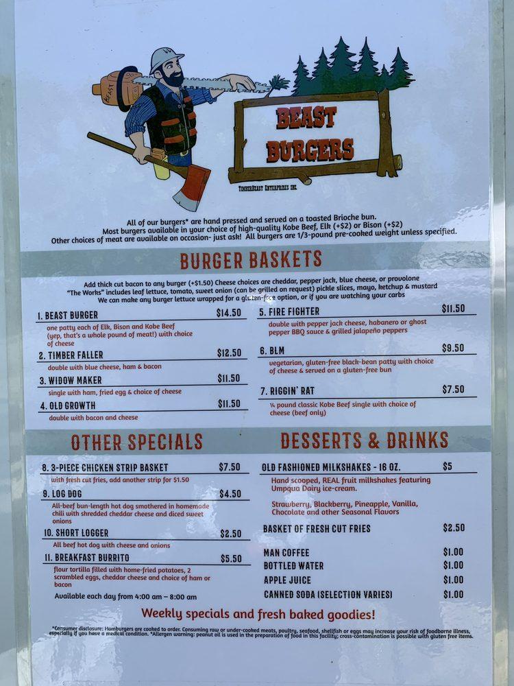 Beast Burgers: 130 Wild Thyme Ln, Glide, OR