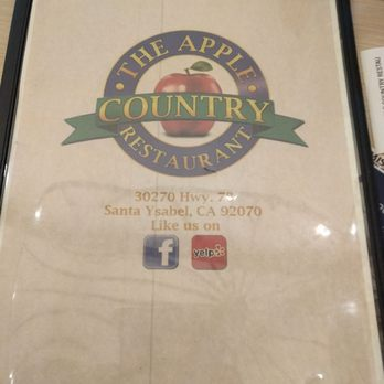 Apple Country Restaurant Menu Santa Ysabel