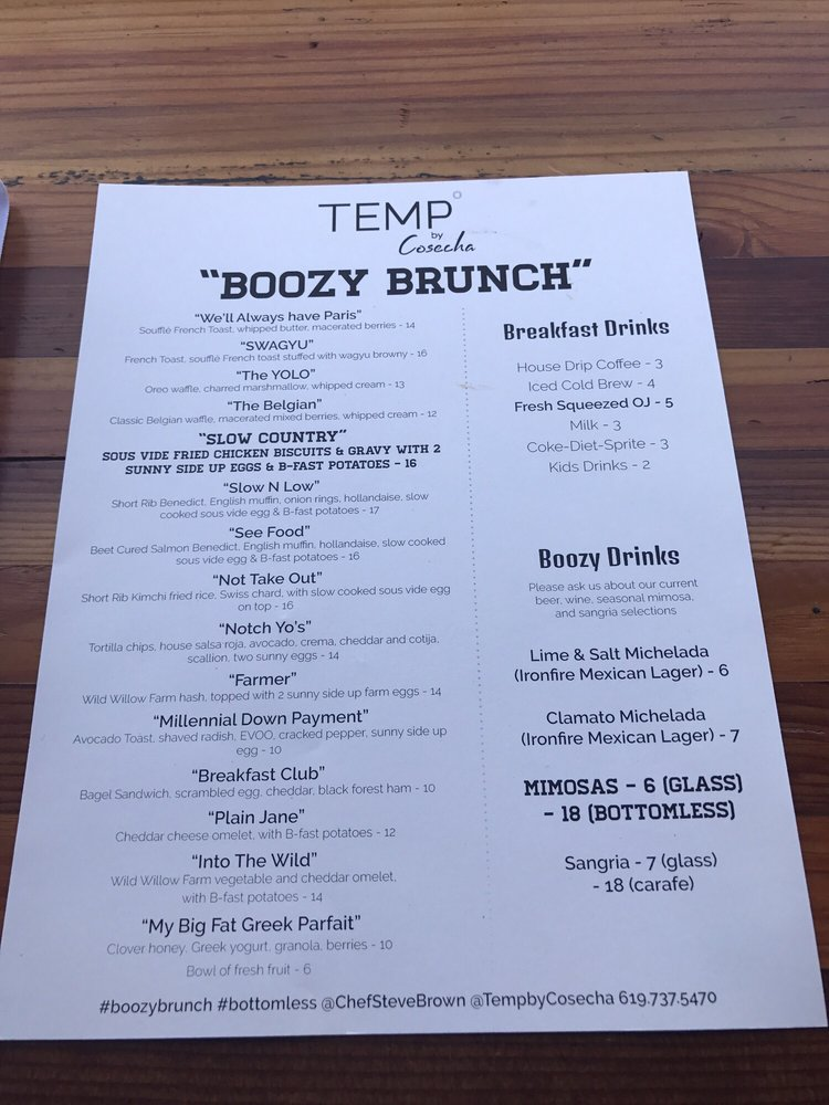 Their menu with creative, catchy names! Peep the bottomless