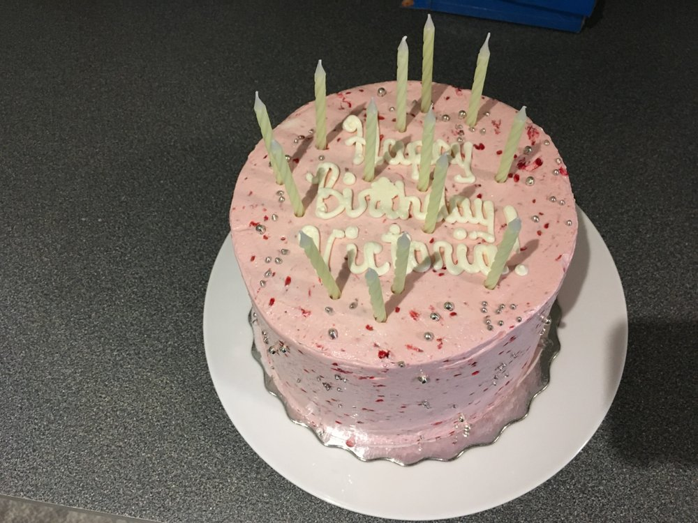 Raspberry Buttercream Chocolate And Vanilla 4 Layer Birthday Cake What A Delicious Thanks Phipps