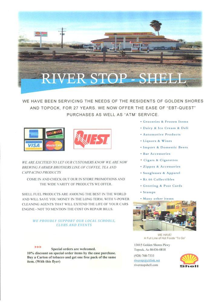River Stop Shell: 13015 S Golden Shores Pkwy, Topock, AZ