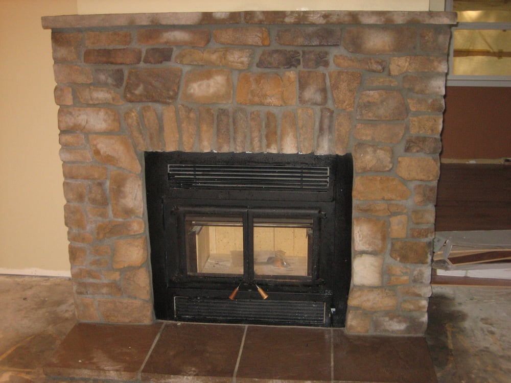 Masonry stonework around new zero clearance fireplace yelp for New construction fireplace