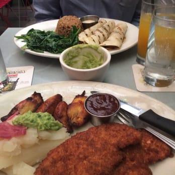 ... , NY, United States. Plantain crusted chicken & fish tacos dish. Yum