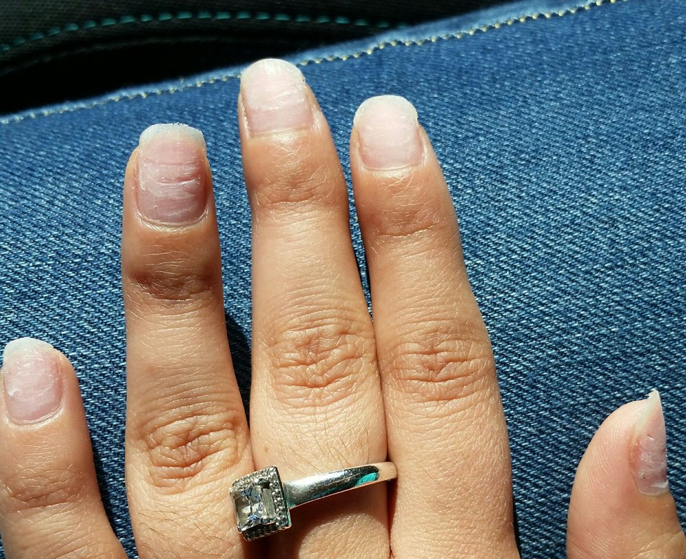 My nails were not buffed AT ALL. You can see how jagged, sharp, and ...