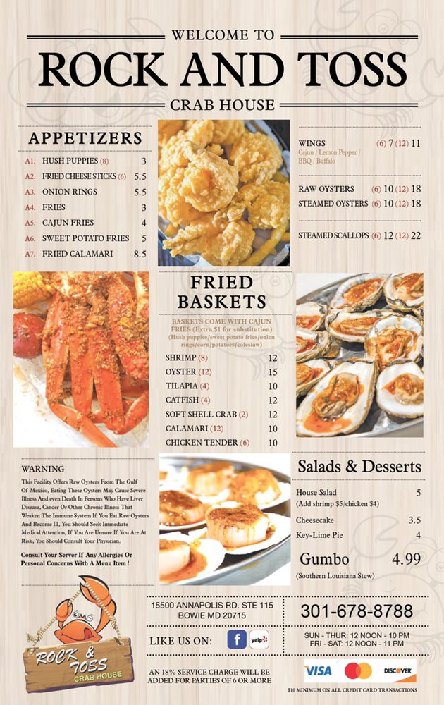 Rock & Toss Crab House: 15500 Annapolis Rd, Bowie, MD