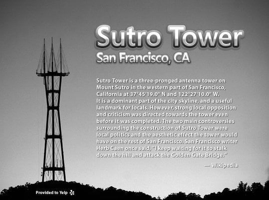 Sutro Tower is in the western part of SF like Kansas is in the