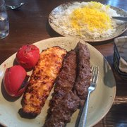soltani kabob on the right and chicken barg on the left personally liked soltani way - Rumis Kitchen Menu