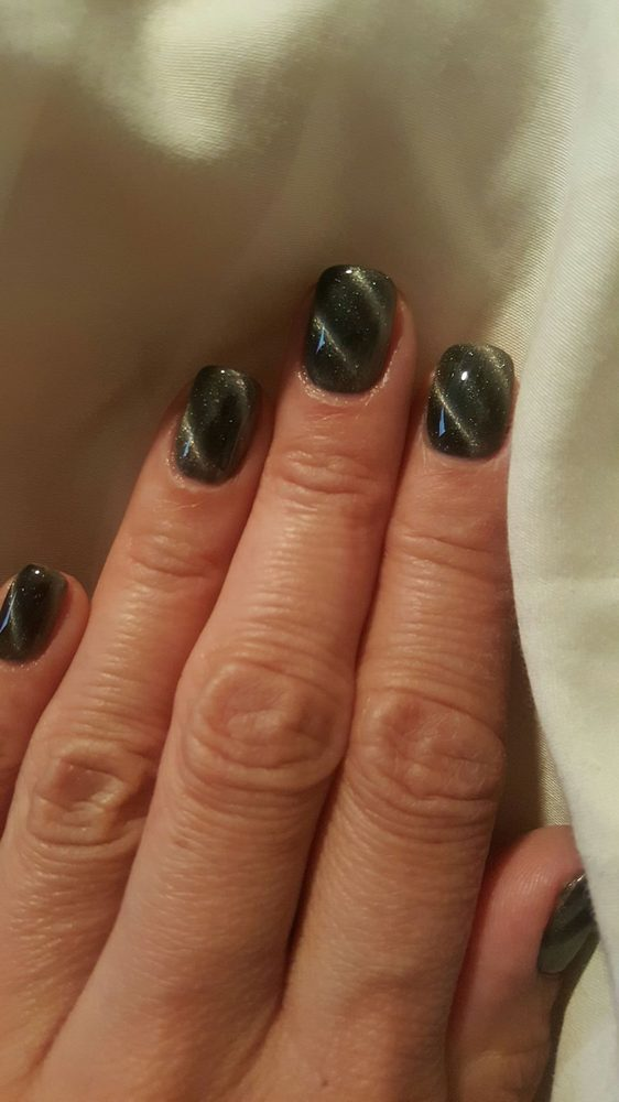 These nails are to die for!!! They are gel and called Cat Eyes. To ...