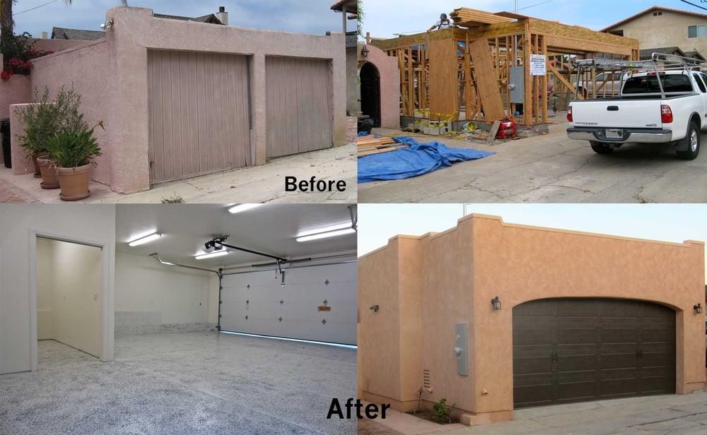 Garage demo and rebuild framing epoxy floor stucco for Stucco garage