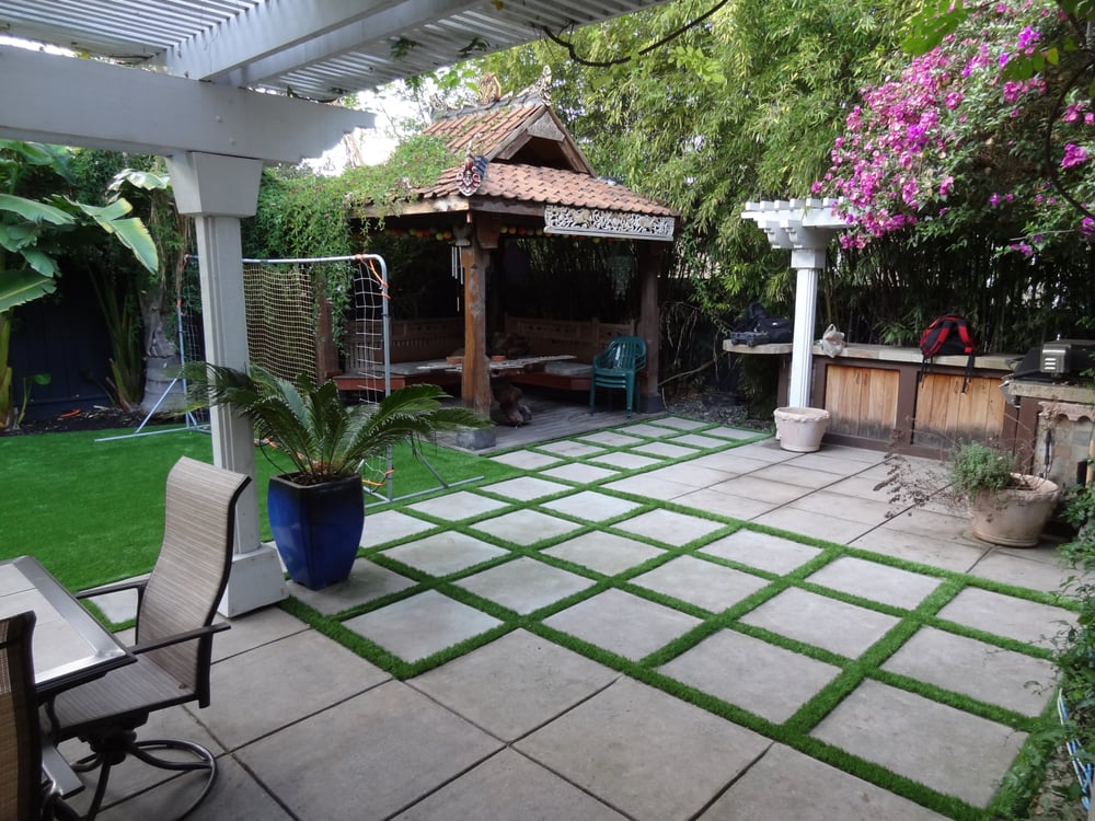 Artificial grass installed in the entire backyard and side ... on Turf Patio Ideas id=89400