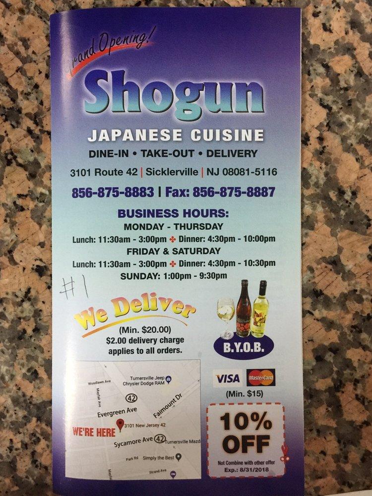 Shogun Japanese Cuisine - 3101 Route 42, Sicklerville, NJ