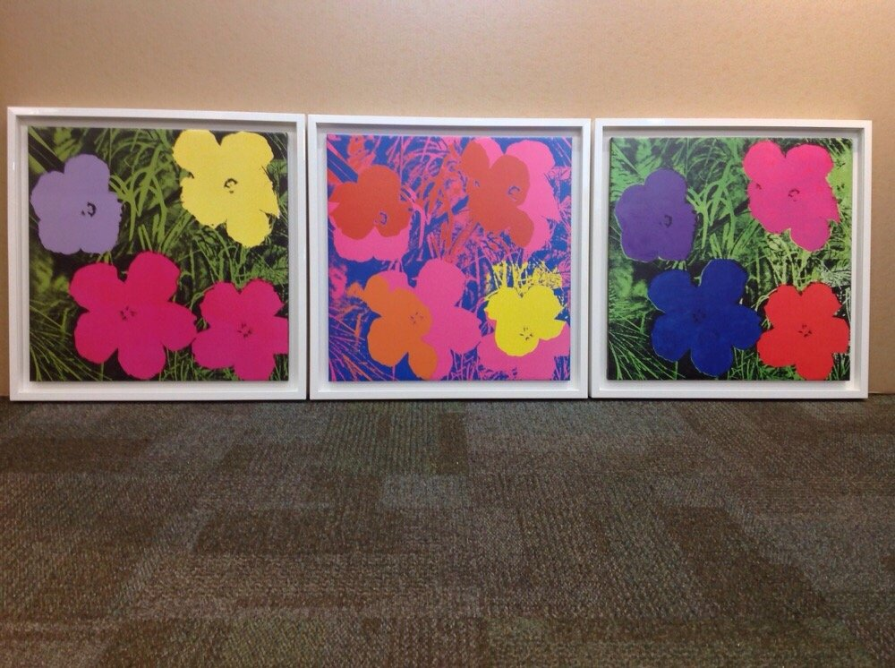 Warhol Flowers White Lacquer Floating Frames Yelp