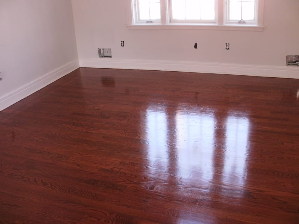 Red oak hardwood flooring stained and refinished yelp for Red oak hardwood flooring