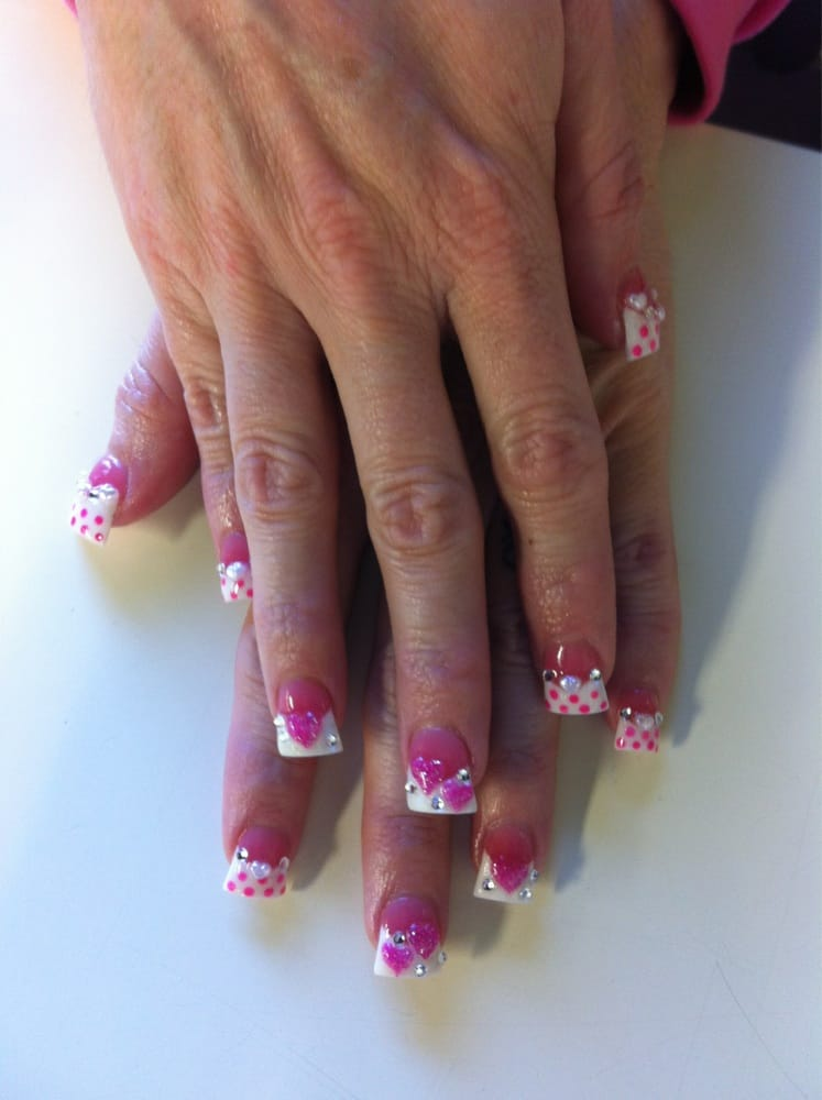 Pink and white powder with 3d nails art yelp for 3d nail art salon
