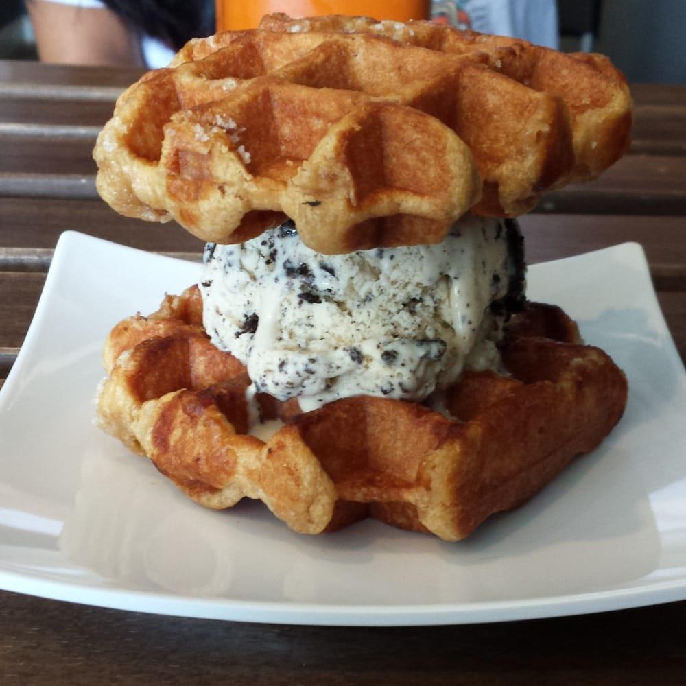 ... , CA, United States. Belgian cinnamon waffle ice cream sandwich