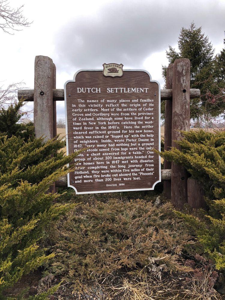 Dutch Settlement Historical Marker: 1194 Sauk Trail Rd, Cedar Grove, WI