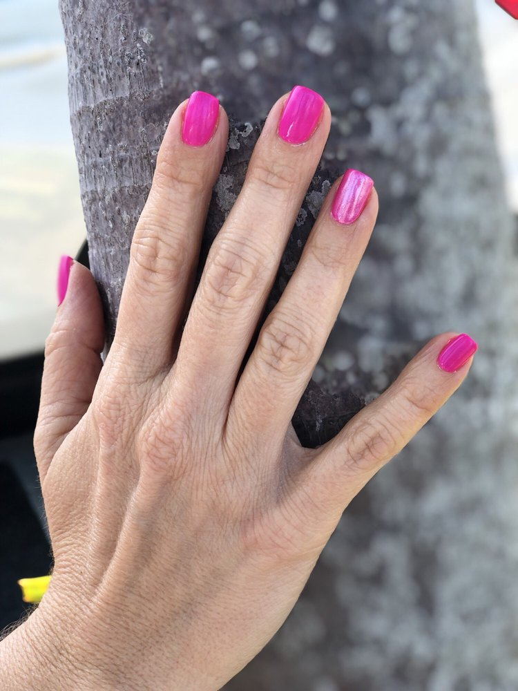 Hot Pink Gelish with Pink Chrome. #yourescapesalon #nails #salon - Yelp