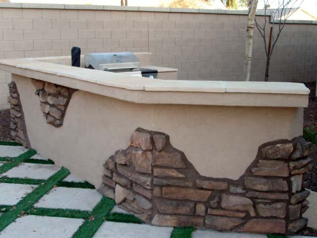 Arizona landscape built in bbq with bar and firepit yelp for Landscaping rock queen creek az