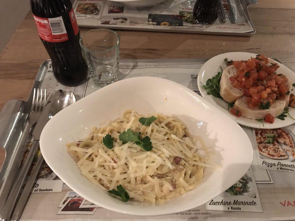 Image result for bruschetta alongside pasta carbonara