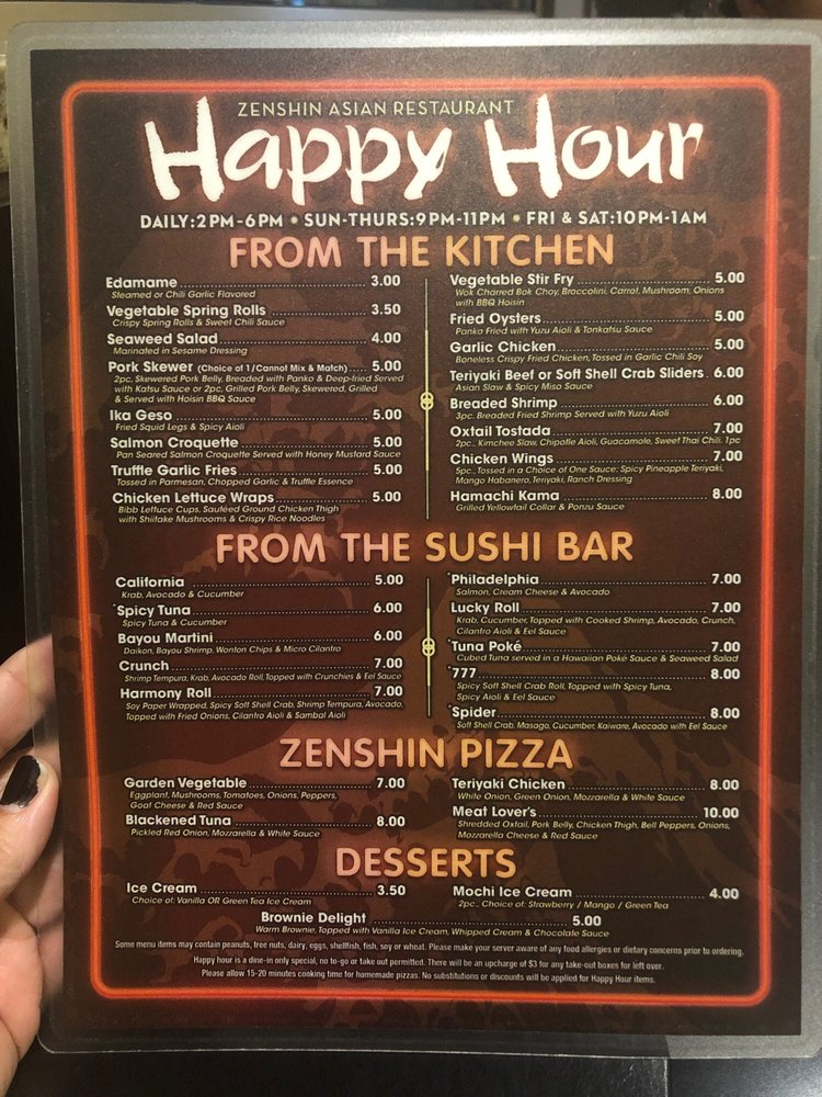 Asian restuarant happy hour were visited