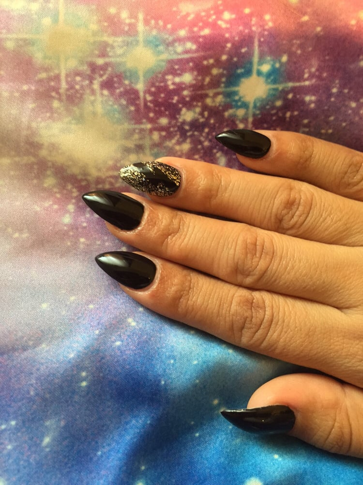 Black stiletto nails short for work, free nail design thank you Ms ...