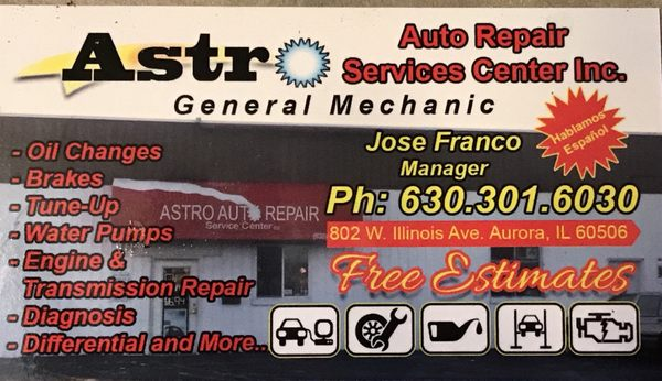Astro Auto Repair Service Center 802 W Illinois Ave Aurora