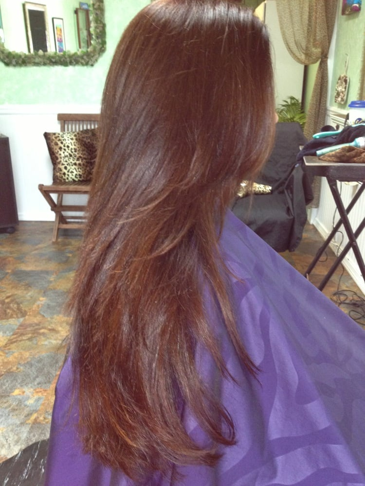 This Is A Beautiful Non Ammonia Red Brown Hair Color With A Long
