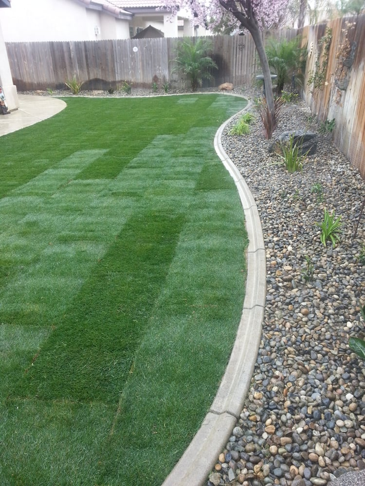 Sod Sprinklers Curbing Plants River Rock Yelp