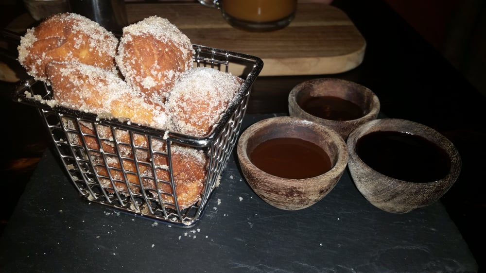 Mini Nola Donuts W 3 Dipping Sauces Fudge Mixed Berry Salted Caramel Yelp