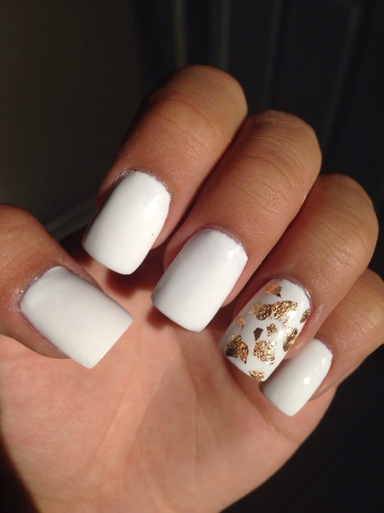 White Gel Acrylic Set With Gold Leaf Yelp