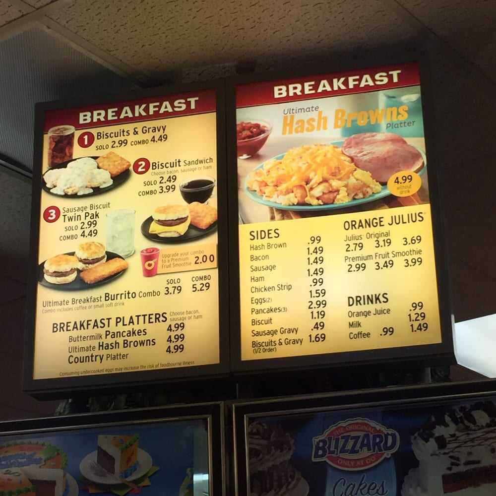 Dairy Queen Breakfast Menu