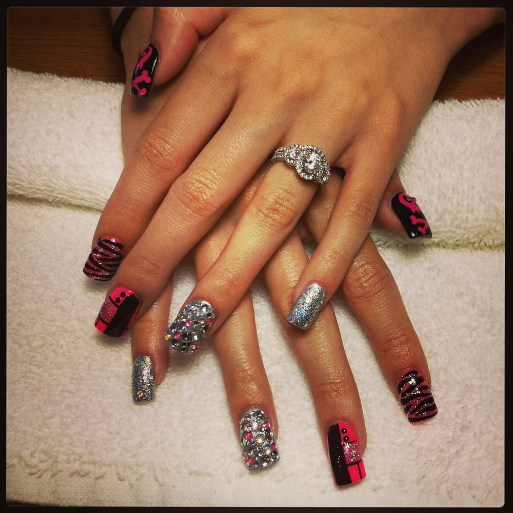 Mix it up.Bling them out. Full set Tammy Taylor acrylic nails.No ...