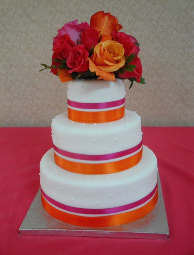 wedding cakes guelph 3 tiered wedding cake with pink amp orange details by say 24463