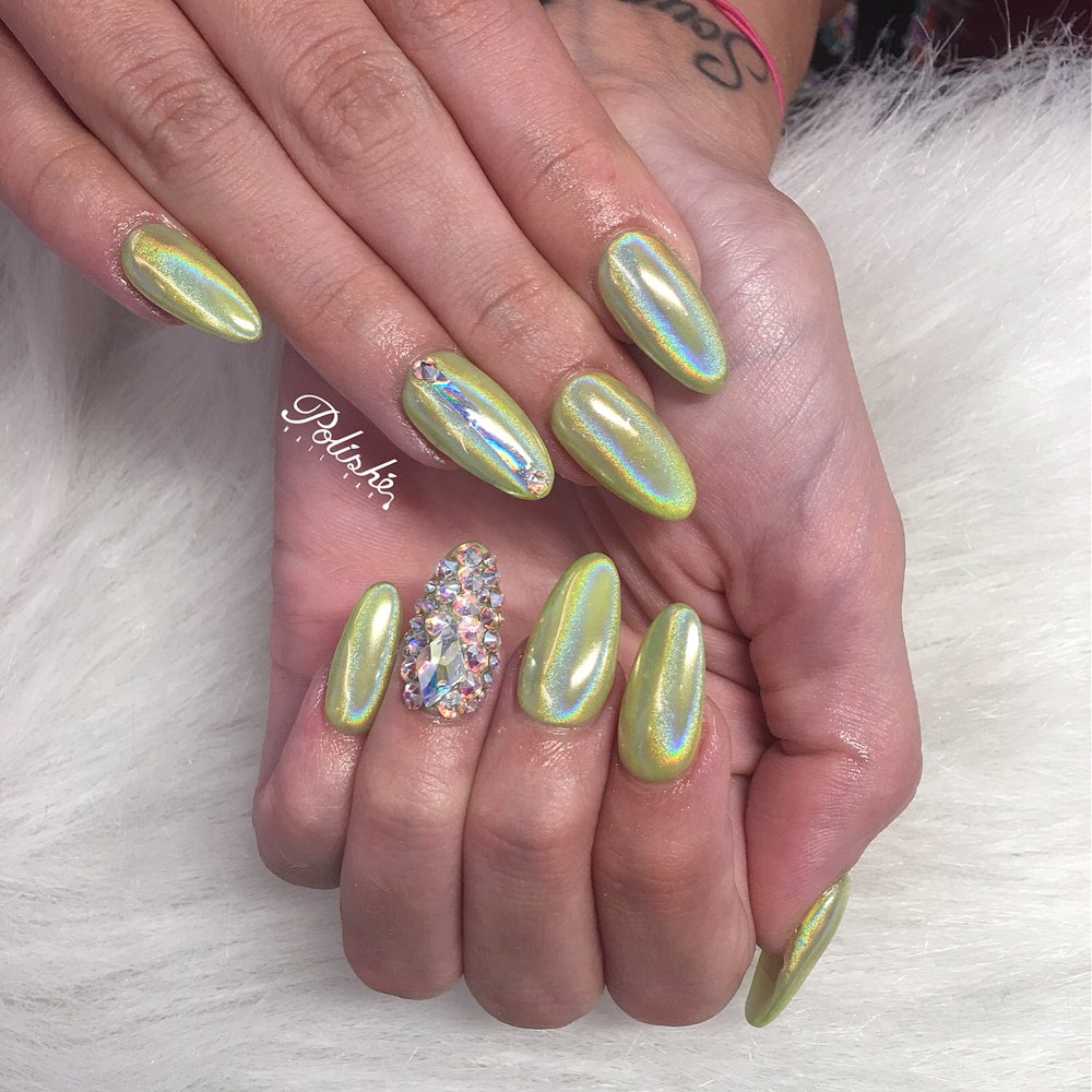Photo Of Polishe Nail Bar Cypress Tx United States Holographic Nails With