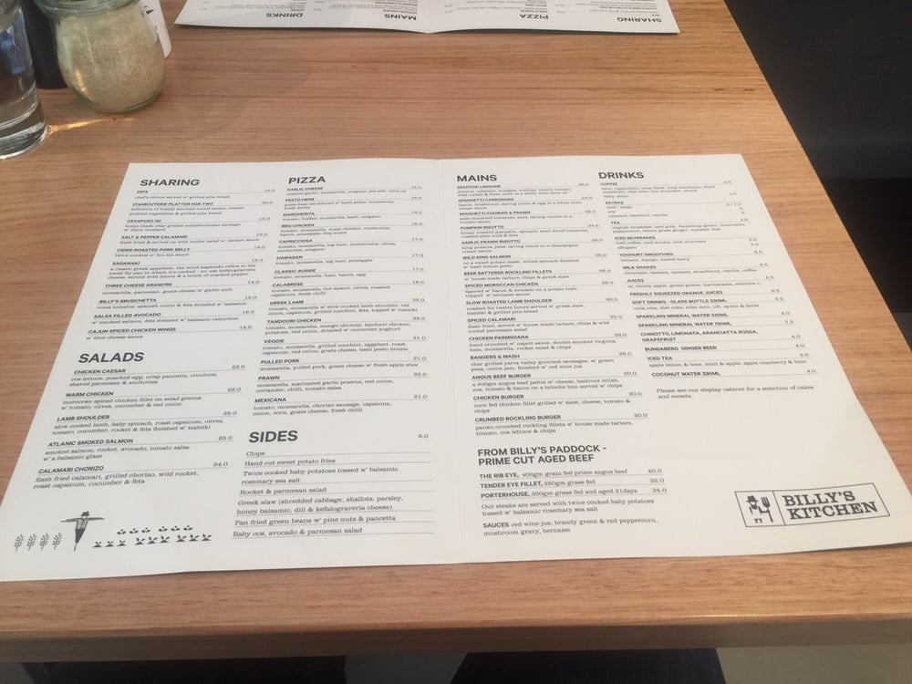 Billy S Kitchen Wantirna Menu