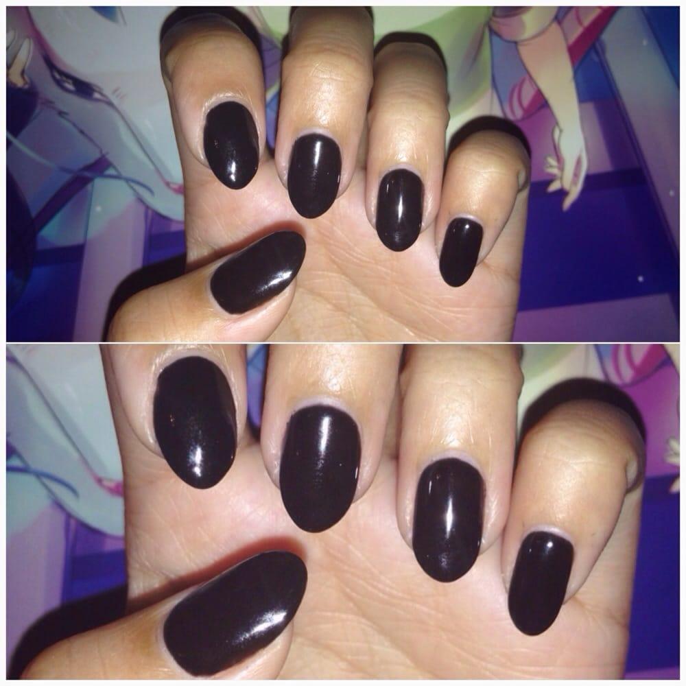 Gel black, almond nails. No fake nails used. - Yelp